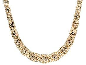10k Yellow Gold Mirror Graduated Byzantine 18 inch Necklace