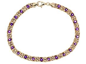 2.50 Ctw Amethyst 10k Yellow Gold Byzantine 8 inch Bracelet