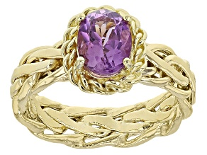 Amethyst 10k Yellow Gold Hollow Wheat Band Ring 1.10ctw