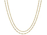 10k Yellow Gold Singapore Chain Necklace Set Of Two 18 inch 20 inch