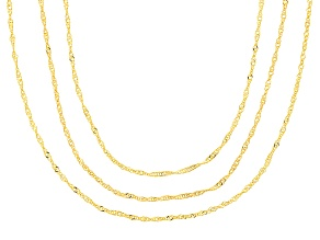 10k Yellow Gold Singapore Chain Necklace Set Of Three 18 20 24 inch