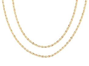 10k Tri-Tone Valentino Chain Necklace Set Of Two 18 inch 20 inch