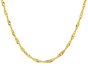 14k Yellow Gold Singapore Chain Necklace 22 inch