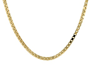 14k Yellow Gold Box Chain Necklace 24 inch 1.1mm
