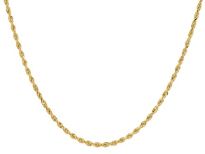 14k Yellow Gold Diamond Cut 1.4mm Rope 18 inch Chain Necklace