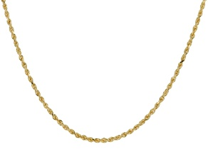 14k Yellow Gold Diamond Cut 2.1mm Rope 18 inch Chain Necklace