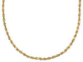 14k Yellow Gold Diamond Cut Rope 18 inch Chain Necklace