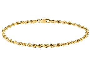 14k Yellow Gold Diamond Cut Rope 7 1/2 inch Bracelet