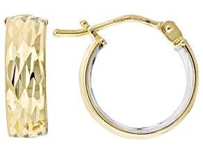 10k Yellow Gold With Rhodium Over 10k Yellow Gold Hollow Hoops 10mm