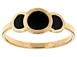 10k Yellow Gold Hollow Onyx Color Enamel Joy Ring