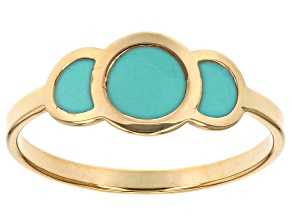 10k Yellow Gold Hollow Turquoise Color Enamel Joy Ring