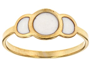 10k Yellow Gold Hollow Simulated Mother Of Pearl Enamel Joy Ring