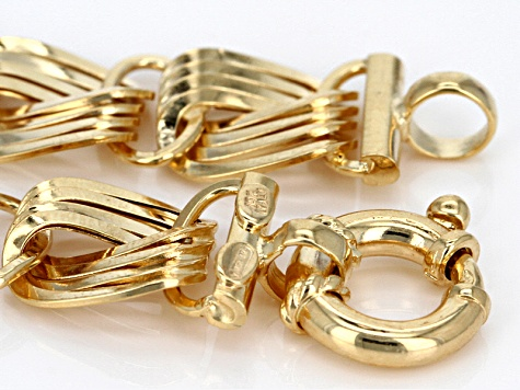 10k Yellow Gold Hollow Curb Bracelet 7.5 inch
