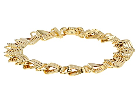 10k Yellow Gold Hollow Curb Bracelet 8 inch