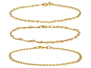10k Yellow Gold Hollow Rolo Singapore Love Bracelet Set Of Three
