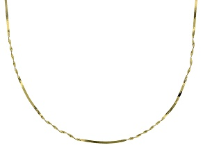 10k Yellow Gold Herringbone Chain Necklace 18 inch