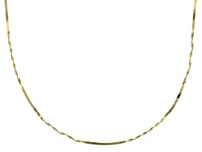 10k Yellow Gold Herringbone Station Chain Necklace 24 inch