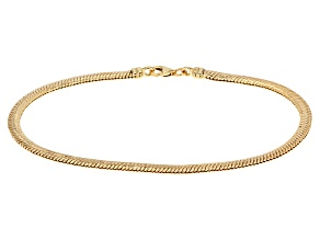 10k Yellow Gold Hollow Herringbone Bracelet 7.5 inch 2.8mm