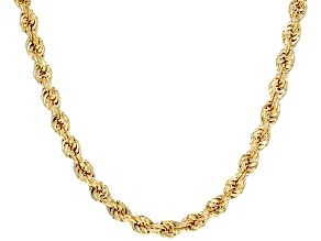 10k Yellow Gold Hollow Rope Chain Necklace 20 inch 6.0mm