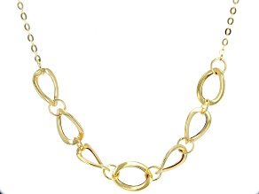 10k Yellow Gold Hollow Oval Necklace 18 inch 2 inch Extender
