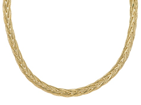 bad2dff92cc24 10k Yellow Gold Mesh Omega Necklace 18 inch 6.5mm