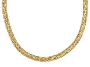 10k Yellow Gold Mesh Omega Necklace 18 inch 6.5mm