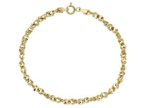10k Yellow Gold Hollow Singapore Bracelet 7.5 inch
