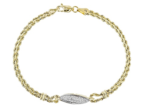 Diamond 10k Yellow Gold Hollow Rope Bracelet 0.01ctw