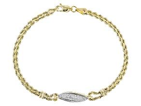 Diamond 10k Yellow Gold Hollow Rope Bracelet 0.01ctw