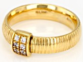 0.15ctw Diamond Simulant 10k Yellow Gold Ribbon Band Ring
