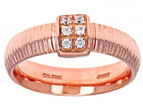 0.15ctw Diamond Simulant 10k Rose Gold Ribbon Band Ring