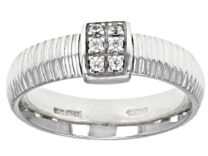 0.15ctw Diamond Simulant Rhodium Over 10k White Gold Ribbon Band Ring