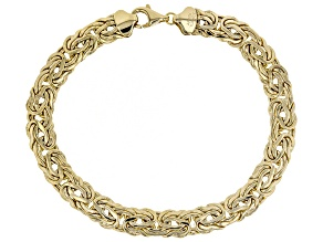 10k Yellow Gold Hollow 7.3mm Bombay Polished Byzantine 8 inch Bracelet