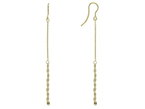 10k Yellow Gold Diamond Cut Cable And Mirror Dangle Earrings