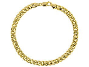 10k Yellow Gold Hollow Miami Curb 8 inch Bracelet