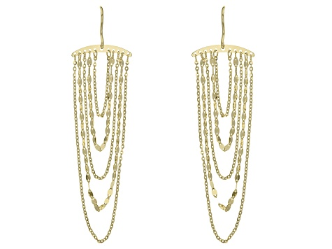10k Yellow Gold Cable And Mirror Chandelier Earrings