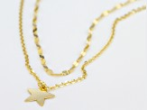 10k Yellow Gold Multi-Row Star 16 inch Plus 4 inch Extender Necklace