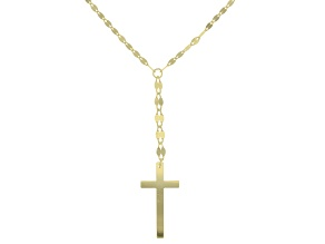 10k Yellow Gold Mirror With Cross 18 inch Lariat Necklace