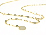 10k Yellow Gold Mirror With Disc 16 inch Plus 4 inch Extender Lariat Necklace