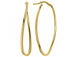 10k Yg 41mm Wavy Square Tube Hoop Earrings