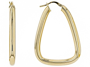 10k Yellow Gold 21mm Triangle Tube Hoop Earrings
