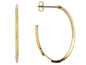 10k Yellow Gold Knife Edge Oval Tube Hoop Earrings