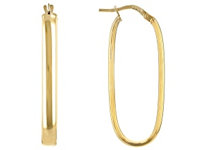 10k Yellow Gold 11mm Polished Rectangle Tube Hoop Earrings