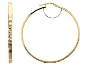 10k Yellow Gold Round Diamond Cut Tube Hoop Earrings