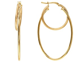 10k Yellow Gold Double Oval Tube Hoop Earrings