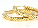 10k Yellow Gold 20mm Square Cable Tube Hoop Earrings