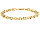 10k Yellow Gold Diamond Cut Designer Curb 7 1/2 inch Bracelet