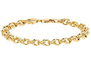 10k Yellow Gold Diamond Cut Designer Curb 8 inch Bracelet