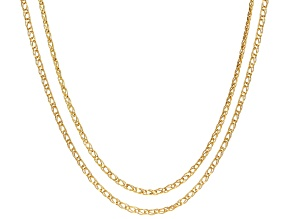 10k Yellow Gold Diamond Cut Designer Curb 18 inch 20 inch Chain Necklace Set Of Two