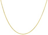 10k Yellow Gold Diamond Cut Flat Rolo 20 inch Chain Necklace